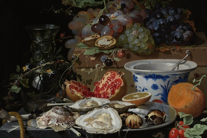 Still Life with Fruit, Oysters and a Porcelain Bowl, Abraham Mignon, 1660 - 1679. Courtesy of the Rijksmuseum.