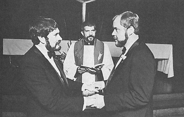 Rev. Troy Perry performs a Holy Union ceremony for Larry Uhrig and Alan Fox, 1970s. (Courtesy of MCC Family Tree - The Archives of Metropolitan Community Churches)