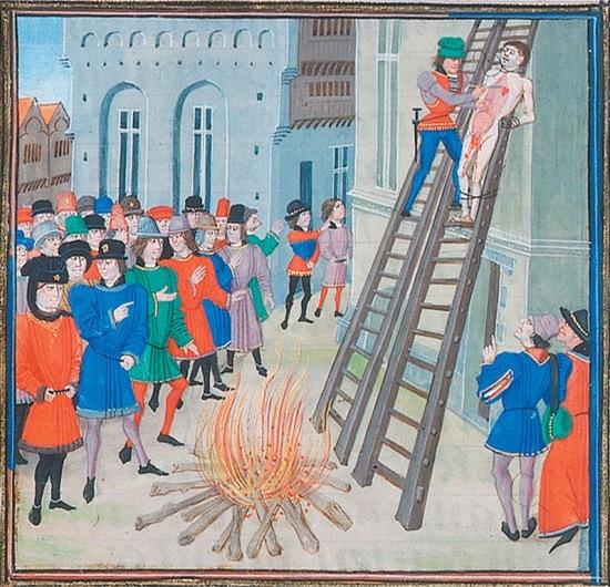 The Execution of Hugh Despenser, 1326 ( BNF MS Fr. 2643, f.197v, via Wikimedia Commons)