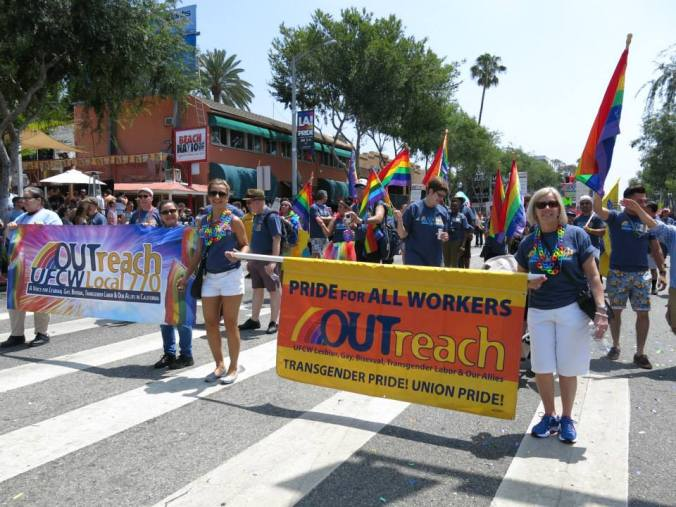 United Food and Commercial Workers' OUTreach Committee at Local 770 at the LA PRIDE march, West Hollywood, June 14, 2015.    Photos courtesy of Michele Kessl